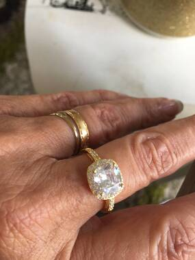 User supplied image of ELANZA Simulated White Diamond (Cush) Ring in Yellow Gold Overlay Sterling Silver