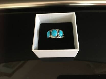 User supplied image of Arizona Sleeping Beauty Turquoise (Ovl) Three Stone Ring in Sterling Silver 3.145 Ct.