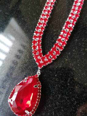 User supplied image of Simulated Ruby and Red Austrian Crystal Necklace (Size 19 with 4 inch Extender)
