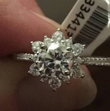 User supplied image of ELANZA Simulated Diamond (Rnd) Ring in Rhodium Overlay Sterling Silver