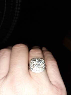 User supplied image of J Francis - Platinum Overlay Sterling Silver Ring Made with SWAROVSKI ZIRCONIA 2.18 Ct