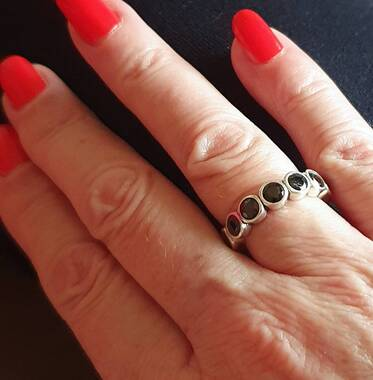 User supplied image of Elite Shungite Bezel Set Eternity Band Ring in Sterling Silver 2.50 Ct.
