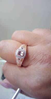 User supplied image of AA Marropino Morganite and Natural Cambodian Zircon Ring in Rose Gold Overlay Sterling Silver 1.75 Ct, Silver wt 5.60 Gms