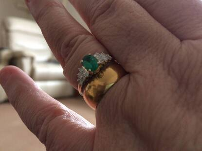 User supplied image of 9K Yellow Gold Kagem Zambian Emerald (Ovl 0.82 Ct), Diamond Ring 1.000 Ct.