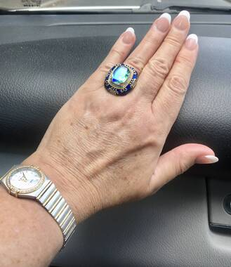 User supplied image of GP - Peacock Quartz, Natural Cambodian Zircon and Blue Sapphire Enamelled Ring in Platinum and Yellow Gold Overlay Sterling Silver 10.50 Ct, Silver wt 12.40 Gms