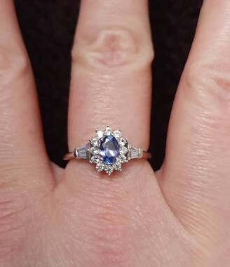 User supplied image of Tanzanite and Natural Cambodian Zircon in Platinum Overlay Sterling Silver 1.23 Ct.