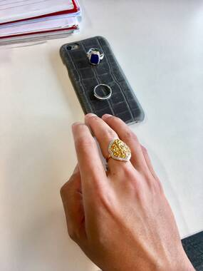 User supplied image of Yellow Sapphire (Ovl) Ring in 14K Gold Overlay Sterling Silver 6.240 Ct.