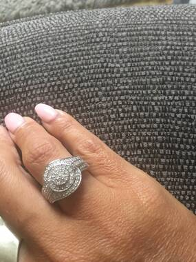 User supplied image of Diamond (Rnd) Ring in Platinum Overlay Sterling Silver 1.000 Ct.