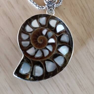 User supplied image of Royal Bali Collection - Ammonite and Mother of Pearl Pendant in Sterling Silver