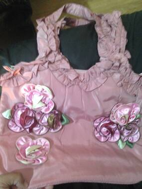 User supplied image of 3D Rose Flowers and Ruffle Embellished Pink Colour Tote Bag (Size 31X26.5X10 Cm)