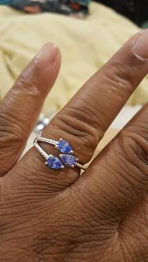 User supplied image of J Francis - Sterling Silver (Pear) Trilogy Ring Made with Blue SWAROVSKI ZIRCONIA