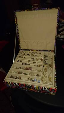 User supplied image of Two-Tier Multi Colour Geometric Pattern Jewellery Box with Anti-Tarnish Lining