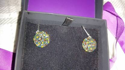 User supplied image of Firecracker Multi Colour Diamond (Bgt) Lever Back Earrings in Black and Platinum Overlay Sterling Silver 1.00 Ct. Number of Diamonds 120.
