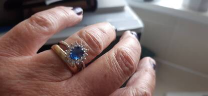 User supplied image of 9K White Gold Ceylon Blue Sapphire and Natural Cambodian Zircon Ring 1.51 Ct.