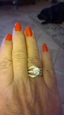 User supplied image of J Francis - Platinum and Rose Gold Overlay Sterling Silver (Rnd) Ring Made with SWAROVSKI ZIRCONIA
